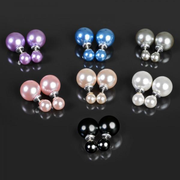 Ohr Stecker Doppel Perlen 925 Silber Ohrringe Doppel Perle Perlenohrringe Z471
