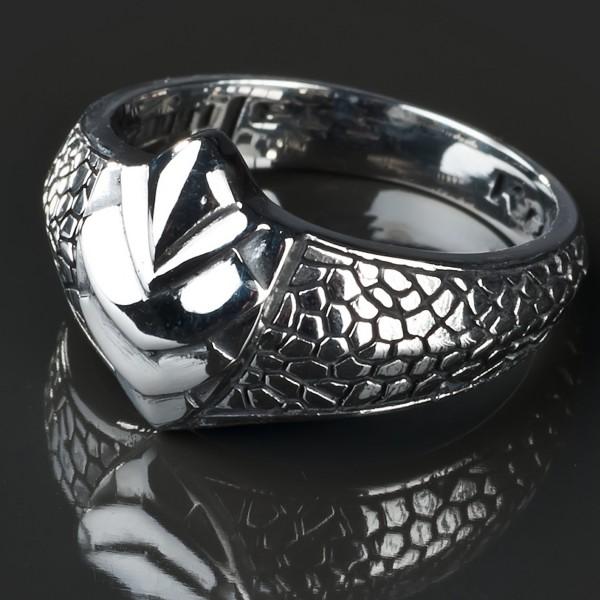 KoolKatana Edelstahl Ring Schlangen Haut Gothic Fingerring Biker silber RS20