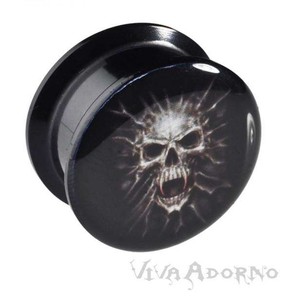 4-24mm Ohr Plug Skull Totenkopf Innengewinde Acryl Flesh Tunnel Piercing VMS