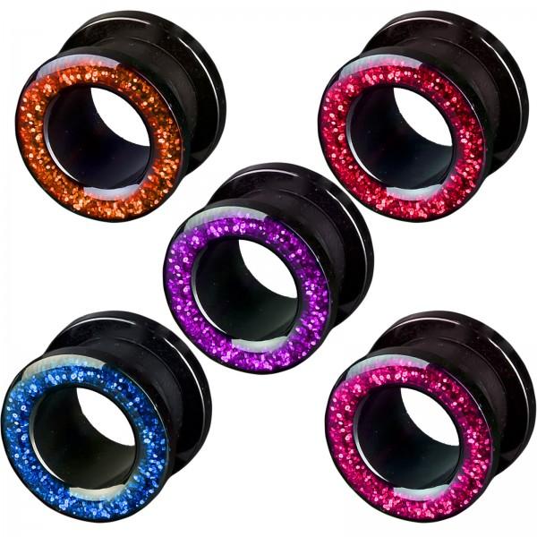 3-12mm Flesh Tunnel Plug Glitter Glitzer Acryl Ohr Piercing Z2c