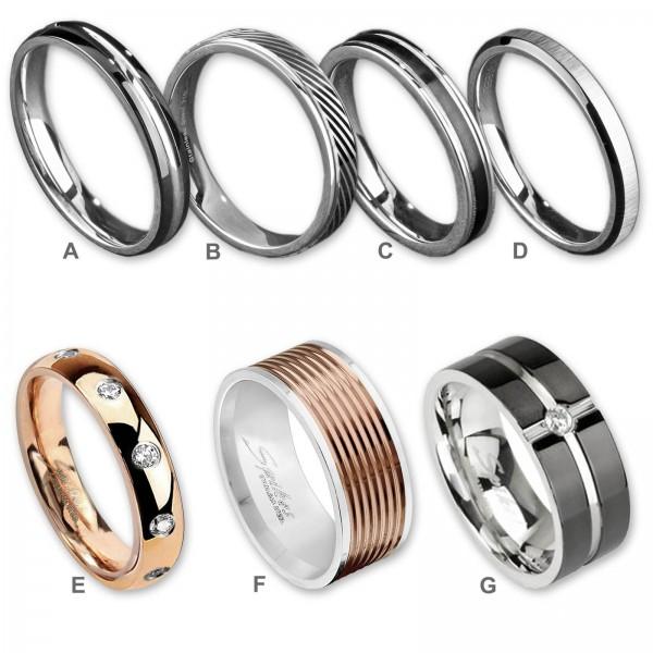 Edelstahl Ring Fingerring Damenring Herrenring Schliff silber matt schwarz EXR77