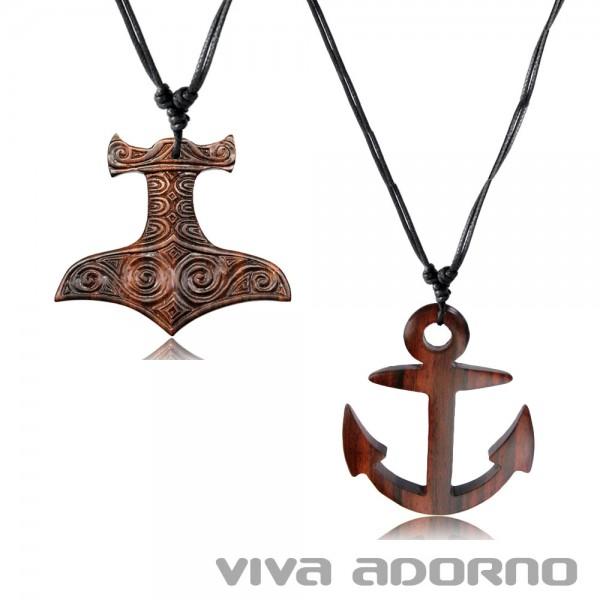 Herren Halskette Holz Anhänger Thorshammer Thor Hammer Marine Anker Kette HK34