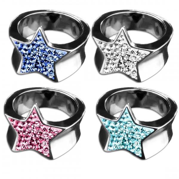 Edelstahl Ring Stern Zirkonia Strass Rockabilly Fingerring Star Sterne RS32
