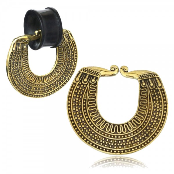 Ohr Gewicht Anhänger für Tunnel Piercing Ohrring Messing Gold Charm Ethno CE19
