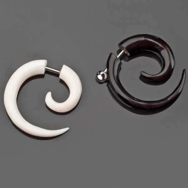 Fake Spirale Horn Knochen Ohr Piercing Ohr Stecker Bone Fake Plug Z133