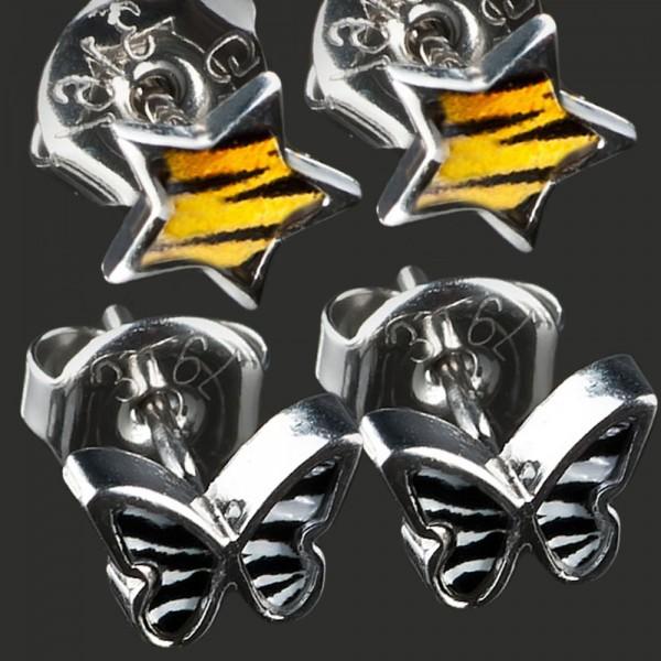 1 Paar Ohr Stecker Schmetterling SternE Zebra Leo Rockabilly Ohrringe WS11