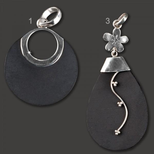 925 Silber Anhänger Lava Stein schwarz Vulkangestein Natur Stein AS48