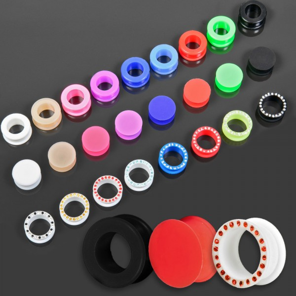 3-20mm Silikon Flesh Tunnel Plug Ohr Piercing flexibel Retainer Strass Z455
