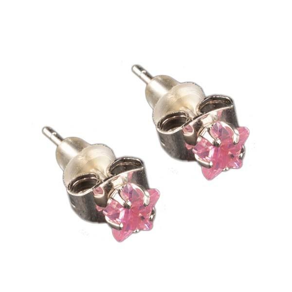 Ohrringe Mädchen Ohrstecker Sterne Zirkonia 925 Silber Rosa Pink Stern SER21