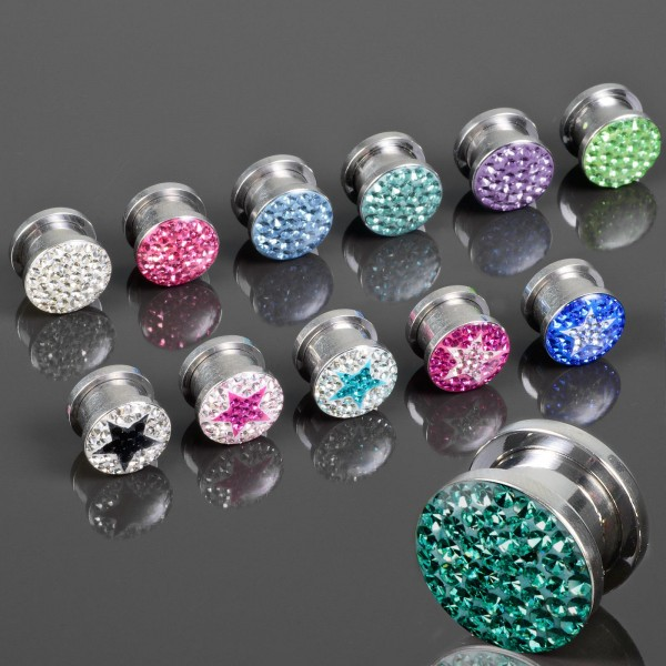3-12mm Flesh Tunnel Plug Glitter Zirkonia Multi Kristall Epoxy Z7