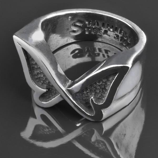 Edelstahl Ring Schmetterling Rockabilly Fingerring silber Butterfly RS42