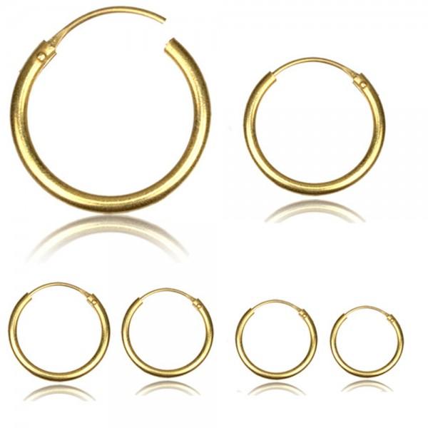 Messing Creolen Ohrringe gold verschiedene Größen XS bis XXL groß 12 - 75mm CE17