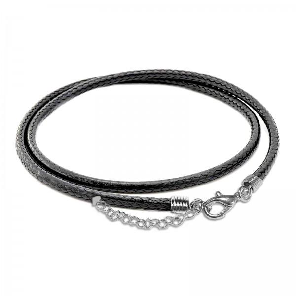 45-50cm Halsband Leder Optik Kunstleder Surfer Kette geflochten Halskette HK40