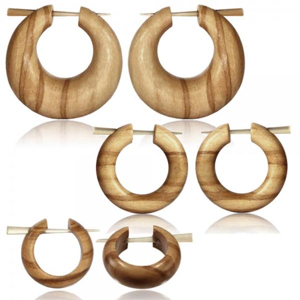 1 Paar Holzohrringe Holz Creolen Olivenholz natur braun Horn Pin Ohrringe CE15