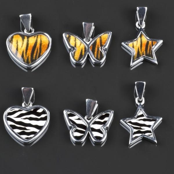 Edelstahl Anhänger Schmetterling SternE Zebra Leo Butterfly Rockabilly AG11