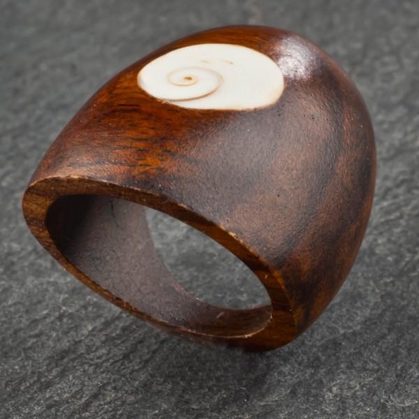 Holz Ring Goa Natur Schmuck Shiva Muschel Fingerring Damenring CR69