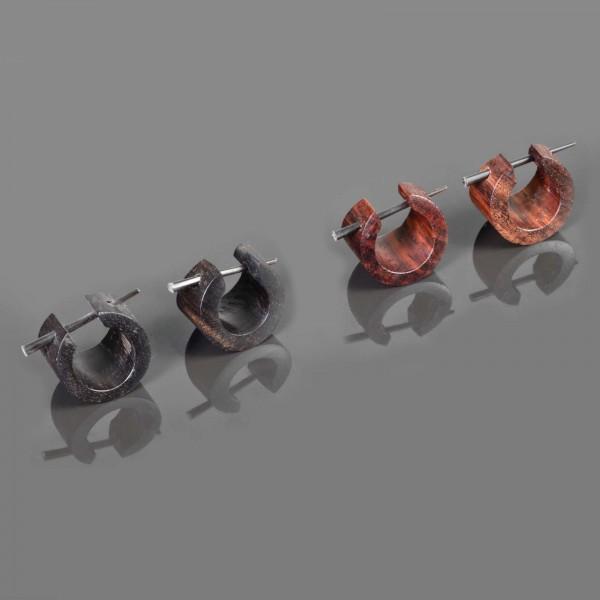 1 Paar Holz Ohrringe Holz Creolen Kreolen braun schwarz Ohr Piercing CC256