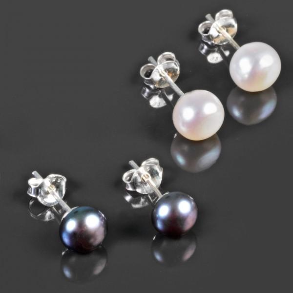 Perlen Ohr Stecker 925 Silber Ohrringe Perle Perlenohrringe Z476