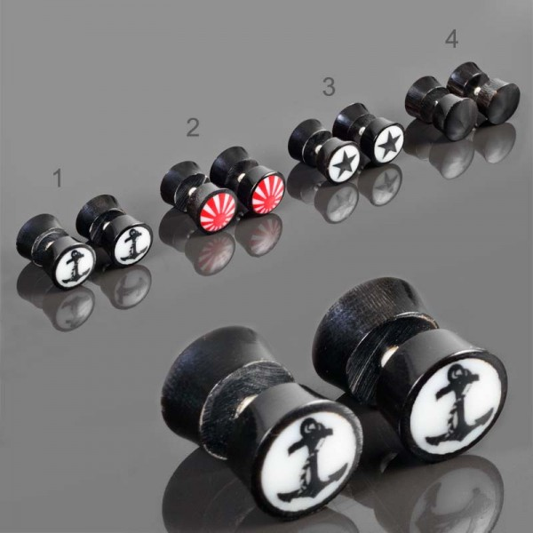 1 Paar Horn Fake Plugs Ohrstecker Ohrpiercing Ohrringe Flesh Tunnel Plug Z509