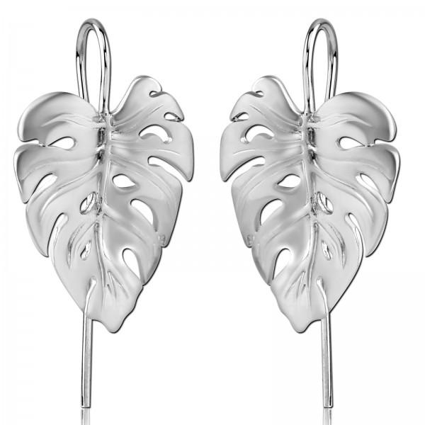 Ohrringe 925 Sterling Silber Ohrhänger Monstera Blatt Blätter matt mattiert Z535