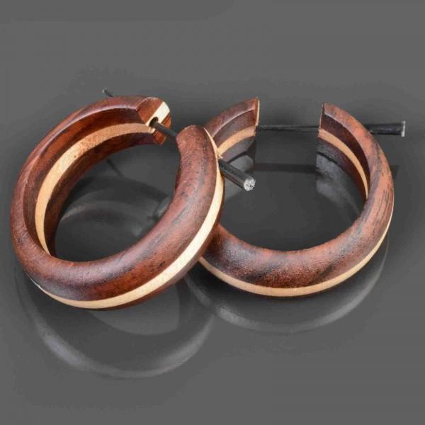 1 Paar Holz Ohrringe große Holz Creolen zweifarbig Naturschmuck CE69