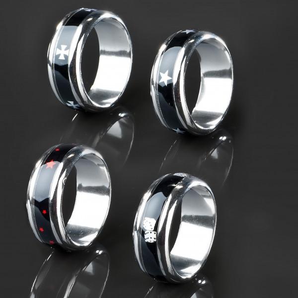 Edelstahl Ring Bandring Sterne Würfel Iron Cross Design Daumenring RS15