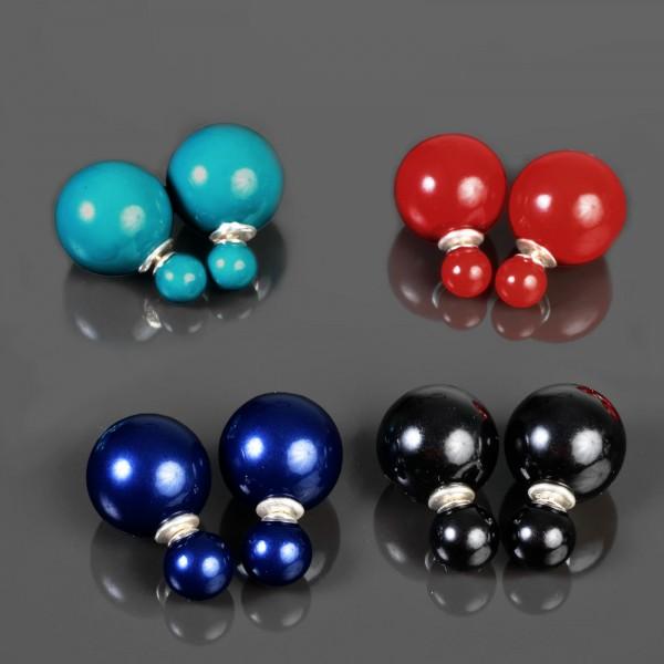 Ohr Stecker Doppel Perlen 925 Silber Ohrringe Doppel Perle Perlenohrringe WS57