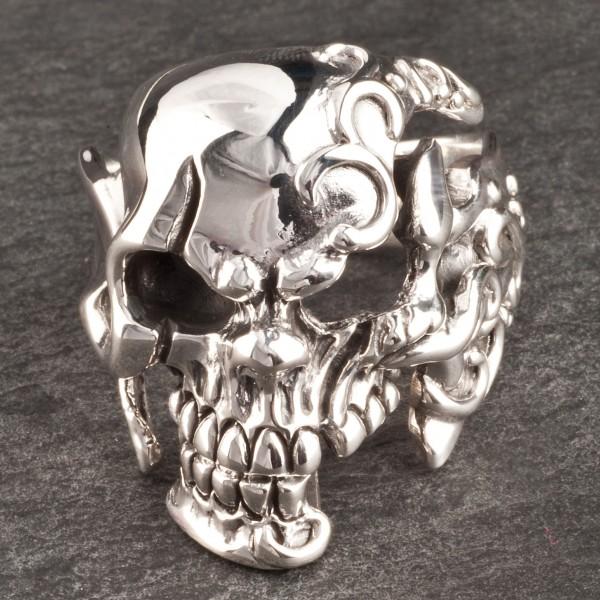 925 Silber Ring Totenkopf Skull Biker Chopper Gothic Fingerring Schädel SR16