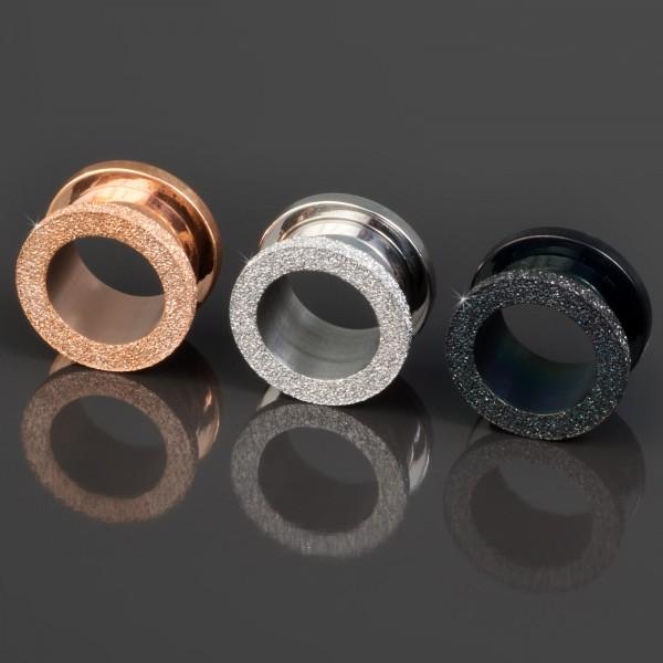 6-14mm Flesh Tunnel Plug Stahl Glitter Glitzer Rose Gold Z8