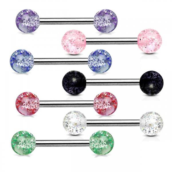 1,6 x 16 mm Zungen Piercing Glitter Glitzer Barbell Hantel Brust Piercing Z311