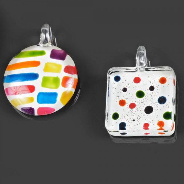 Edle Echtglas Anhänger Halbkugel Quadrat Punkte Glas Halskette Amulett AG1