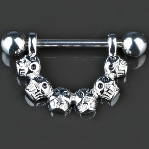 1,6mm Brust Piercing Totenkopf Nippel Shield Intim Piercing Hantel Gothic Z181