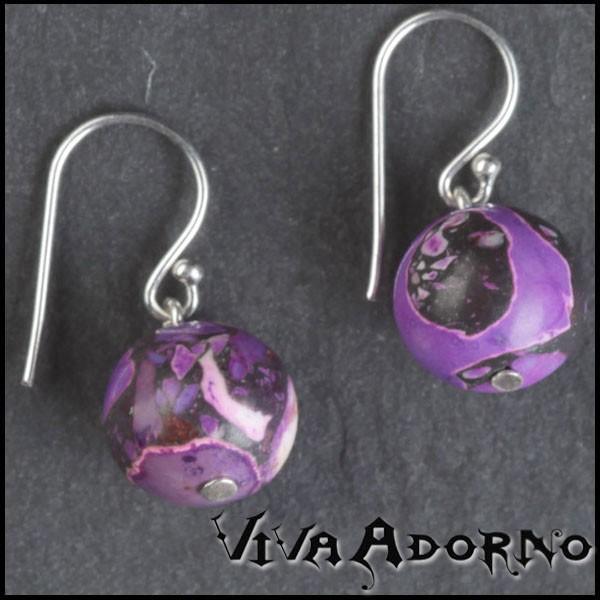 Edelstahl Ohrringe Ohr Hänger Howlite Stein Ohrringe lila violett ES5