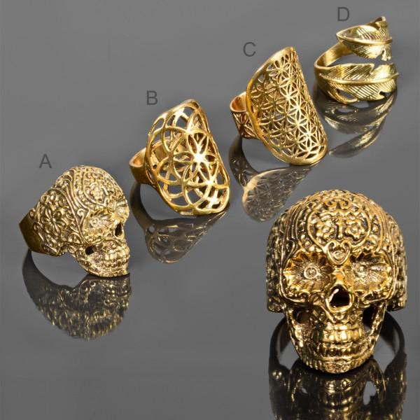 Damen Ring Fingerring Messing Ring Biker Skull Blüten Feder gold RS58