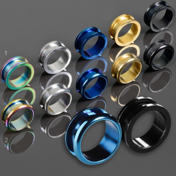 3-30mm Flesh Tunnel Plug Stahl mit Gewinde in 5 Farben Ohr Piercing Z153