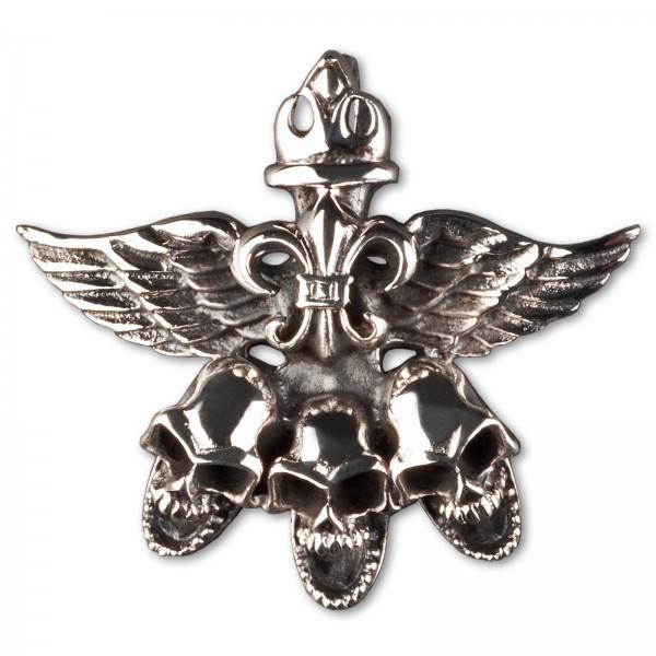 Anhänger Totenkopf Flügel Skull Wings Biker 925 Silber Lilie Fleur de Lys AS17