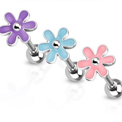 1,6 x 16 mm Zungen Piercing Barbell Blume Blüte Epoxy Hantel Z316