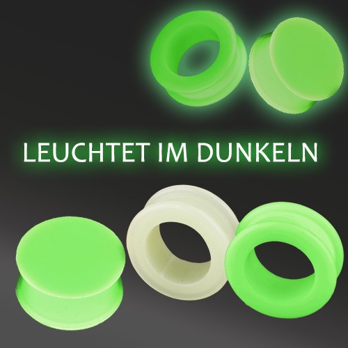 3-25mm Flesh Tunnel Ohr Plug SILIKON phosphorisierend Leuchtet Im Dunkeln Z271
