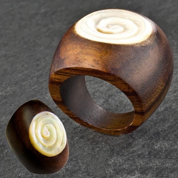 Holz Ring Perlmutt Rose Fingerring Goa Natur Schmuck Muschel Blüte CR168