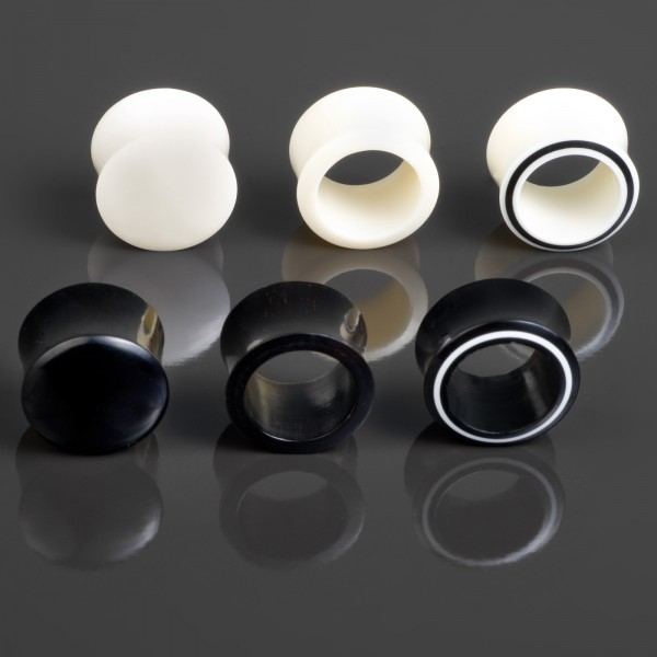 2 - 35mm Flesh Tunnel Plug double flared Horn Bone Knochen Ohr Piercing Z104