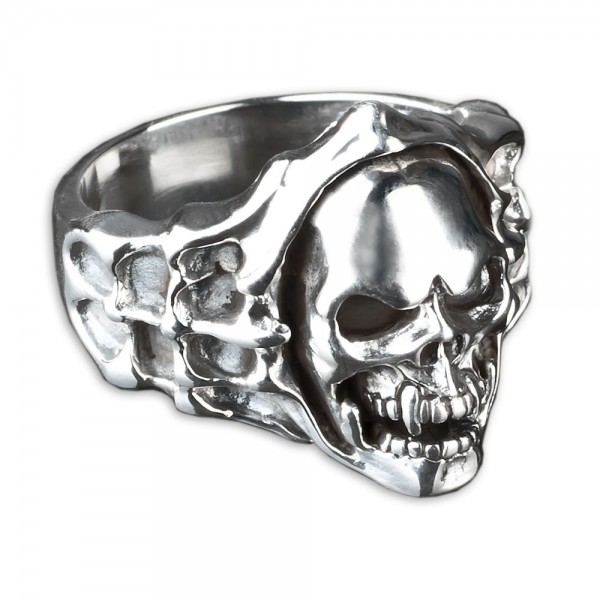 925 Silber Ring Totenkopf Skull Vampir Gothic Biker Rock Metal Daumenring SR3