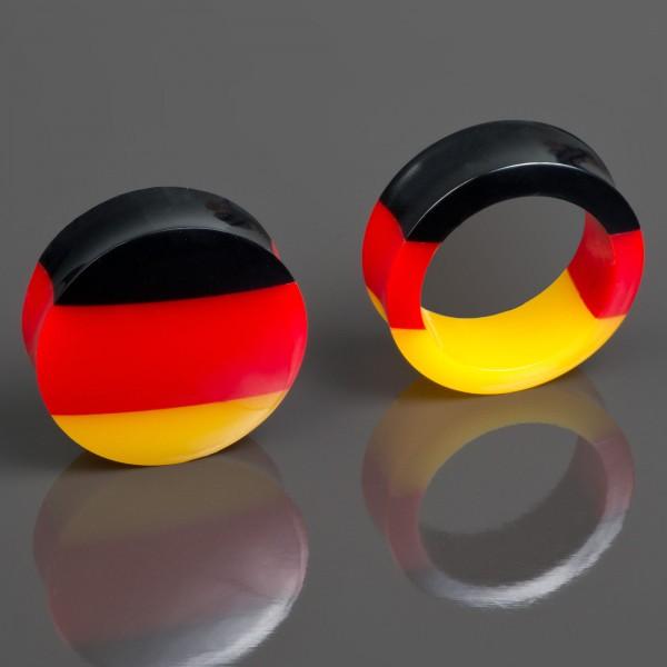 4-30mm Fan Plug Flesh Tunnel Deutschland Flagge Fußball EM WM Olympia Fahne Z415