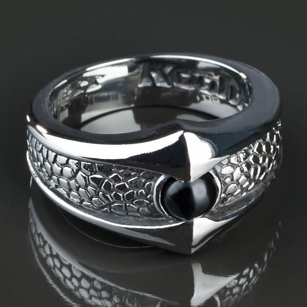 KoolKatana Edelstahl Ring Onyx Schlange Auge Gothic Fingerring Biker silber RS22