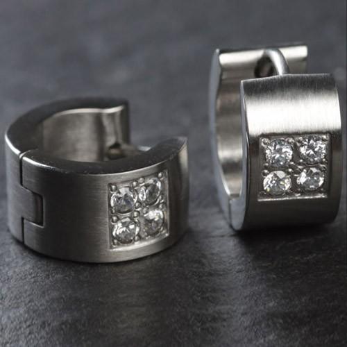 1 Paar Edelstahl Creolen Silber Zirkonia Kristall Matt Edelstahl Ohrringe ER49
