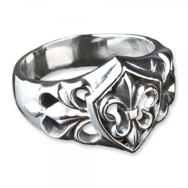 925 Silber Lilien Ring Fleur de Lys Wappen Daumenring Siegelring Biker SR22