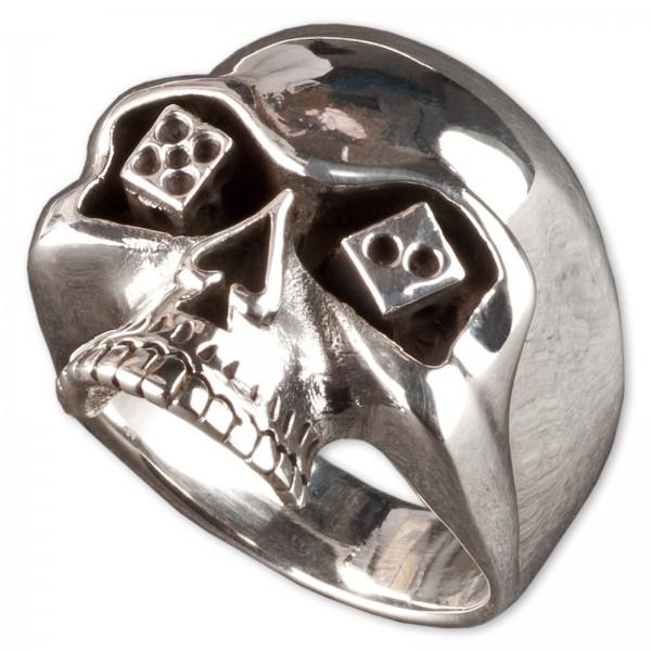 Ring Daumenring Totenkopf Skull Poker Würfel Pik Bikerring 925 Silber Ring SR4