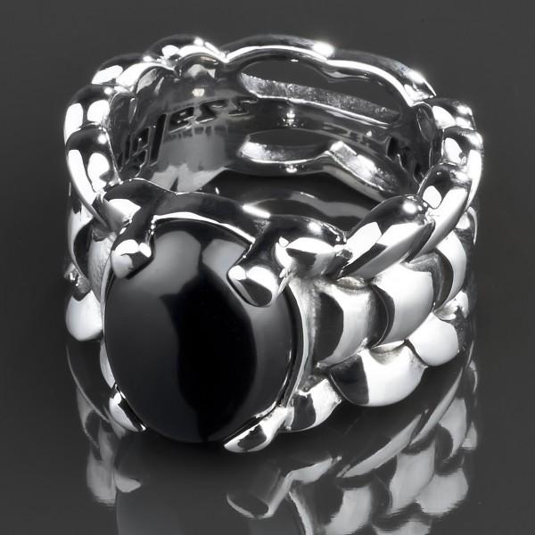 KoolKatana Edelstahl Ring Onyx Gothic Fingerring Biker schwarz Daumenring RS39