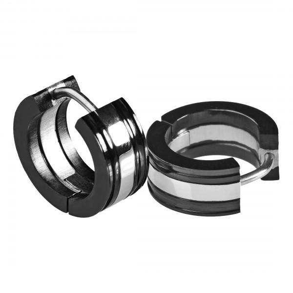 1 Paar Edelstahl Ohrringe Creolen silber schwarz Kreolen ER7b