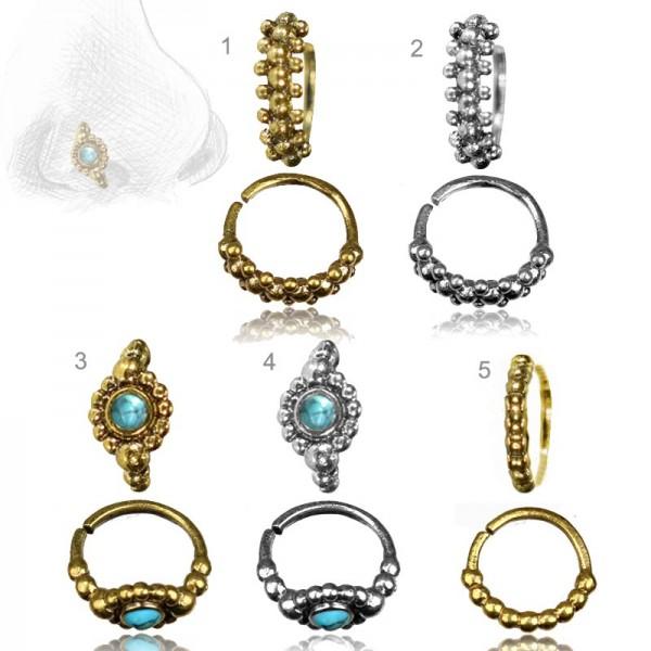 Piercing Ring Nasenring Nasenpiercing Türkis Vintage Messing o. 925 Silber Z516