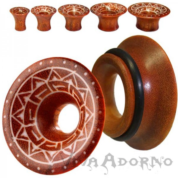 Flesh Tunnel Plug single flared Maya Tribal Holz 6-30mm Bone Tattoo braun Z127
